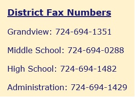 District Fax numbers