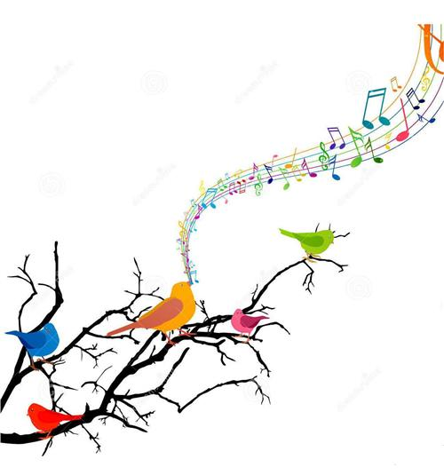 Birds singing on a branch