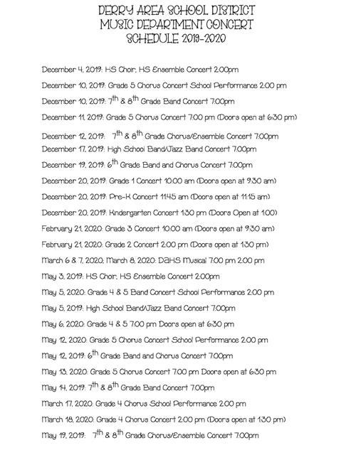 Vigo County School Calendar.Music Music Concert Schedule